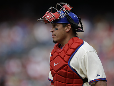 Phillies catcher Carlos Ruiz tops NL catchers in batting average, on-base percentage and slugging percentage. (Associated Press)