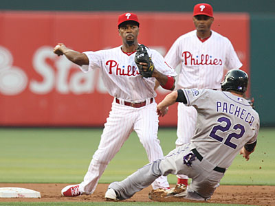 Jimmy Rollins´ solo home run in the first inning was the only run the Phillies could muster. (Steven M. Falk/Staff Photographer)