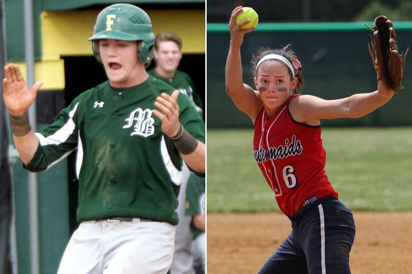 Bonner-Prendergast´s Jim Haley (left) was named to the all-Southeastern Pa.baseball team and Washington Township´s Taylor Coroneos was named South Jersey´s top softball player. (Lou Rabito/Staff) (Michael Bryant/Staff Photographer)