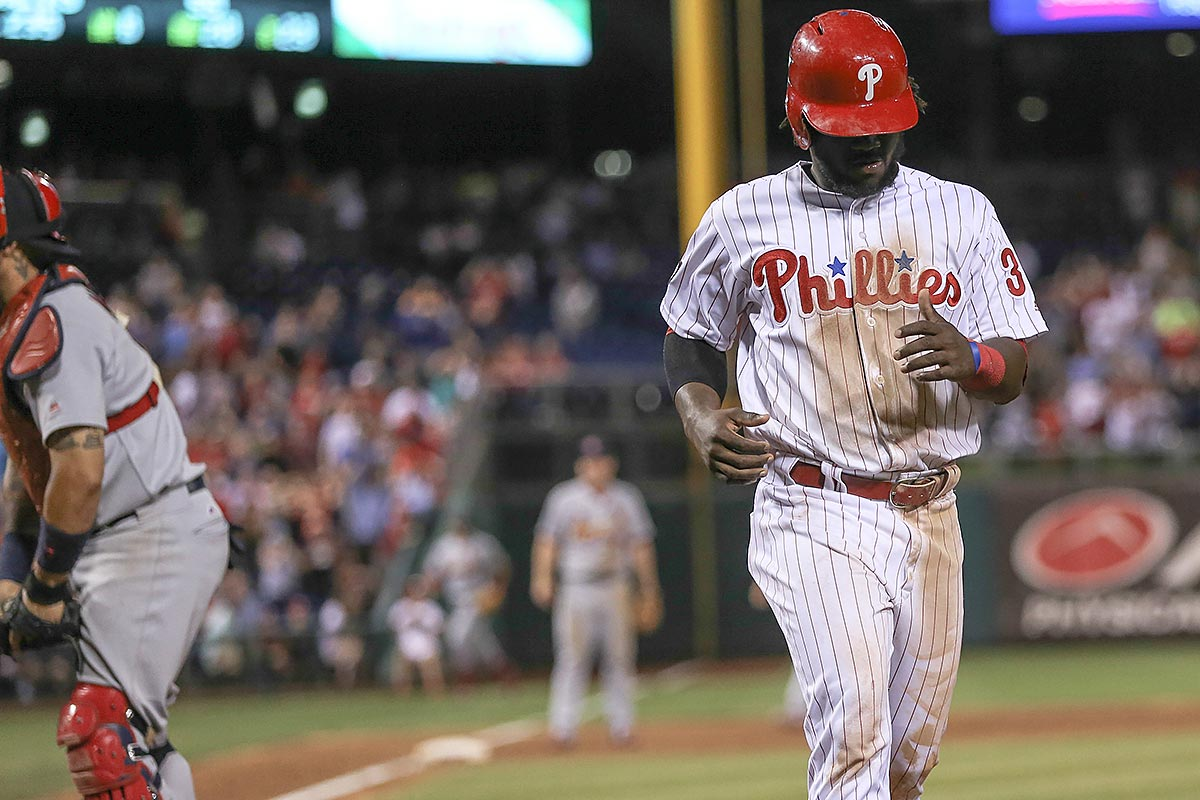Odubel Herrera after being tagged out at home plate.