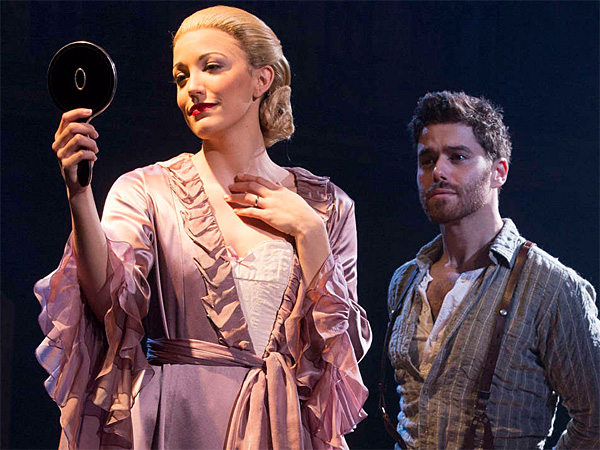 "Caroline Bowman stars as Eva Peron, with Josh Young as Che, in ""Evita"" at the Academy of Music. (Richard Termine)"