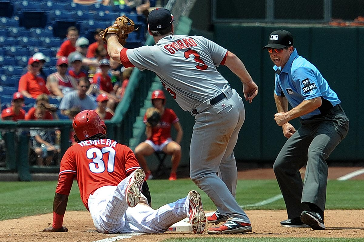 Another base running gaffe by Phillies center fielder Odubel Herrera as he gets picked off third base on a throw from St. Louis Cardinals catcher Yadier Molina as third baseman Jedd Gyorko makes the tag and thrid base umpire Tripp Gibson make the call.