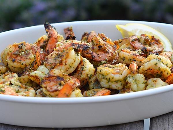 Grilled pesto shrimp. (www.onceuponachef.com)