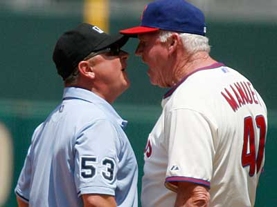 Phillies manager Charlie Manuel was tossed by umpire Greg Gibson for agruing a call at 1st base against Cleveland. (AP Photo/H. Rumph Jr)