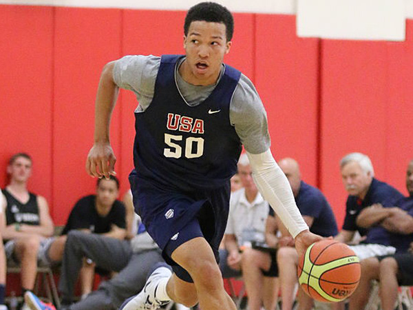 Temple basketball target Jalen Brunson is spending the summer playing for Team USA. (Credit USA Basketball)