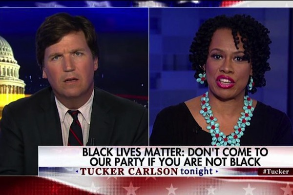 Lisa Durden (right), Tucker Carlson.