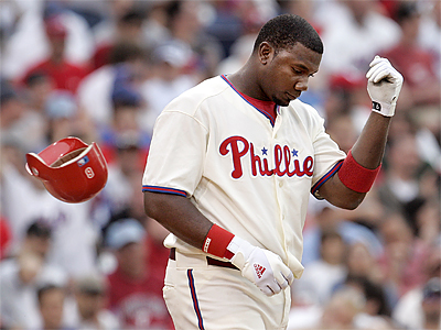 Ryan Howard bats fifth as the designated hitter tonight as the Phillies try to stop a six-game losing streak. (Tom Mihalek/AP file photo)