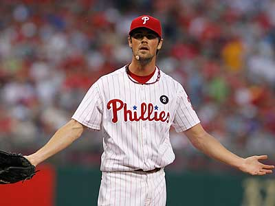 Cole Hamels allowed two runs on eight hits in eight innings. (Ron Cortes/Staff Photographer)