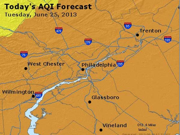 Orange areas on the map indicate regions where high ozone levels are expected today. The ozone levels in the orange areas are unhealthy for sensitive groups.