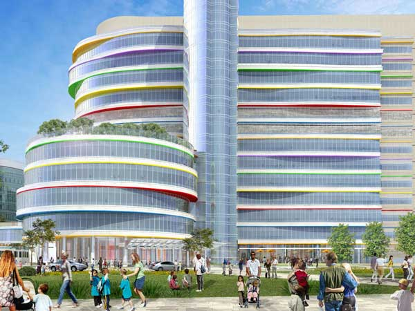The $425 million Buerger Center for Advanced Pediatric Care, in an artist´s rendering, is expected to open in 2015 on the University City campus of Children´s Hospital of Philadelphia.