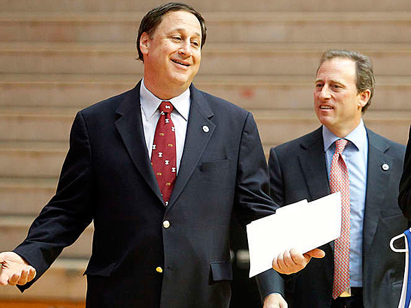 Sixers CEO Adam Aron, left, and managing owner Joshua Harris. (Akira Suwa/Staff Photographer)