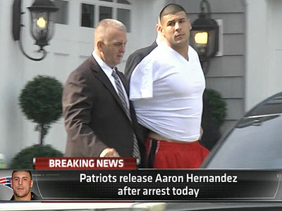 New England Patriots tight end Aaron Hernandez was arrested more than a week after a Boston semi-pro football player was found dead in an industrial park a mile from Hernandez´s house. (ESPN/AP)
