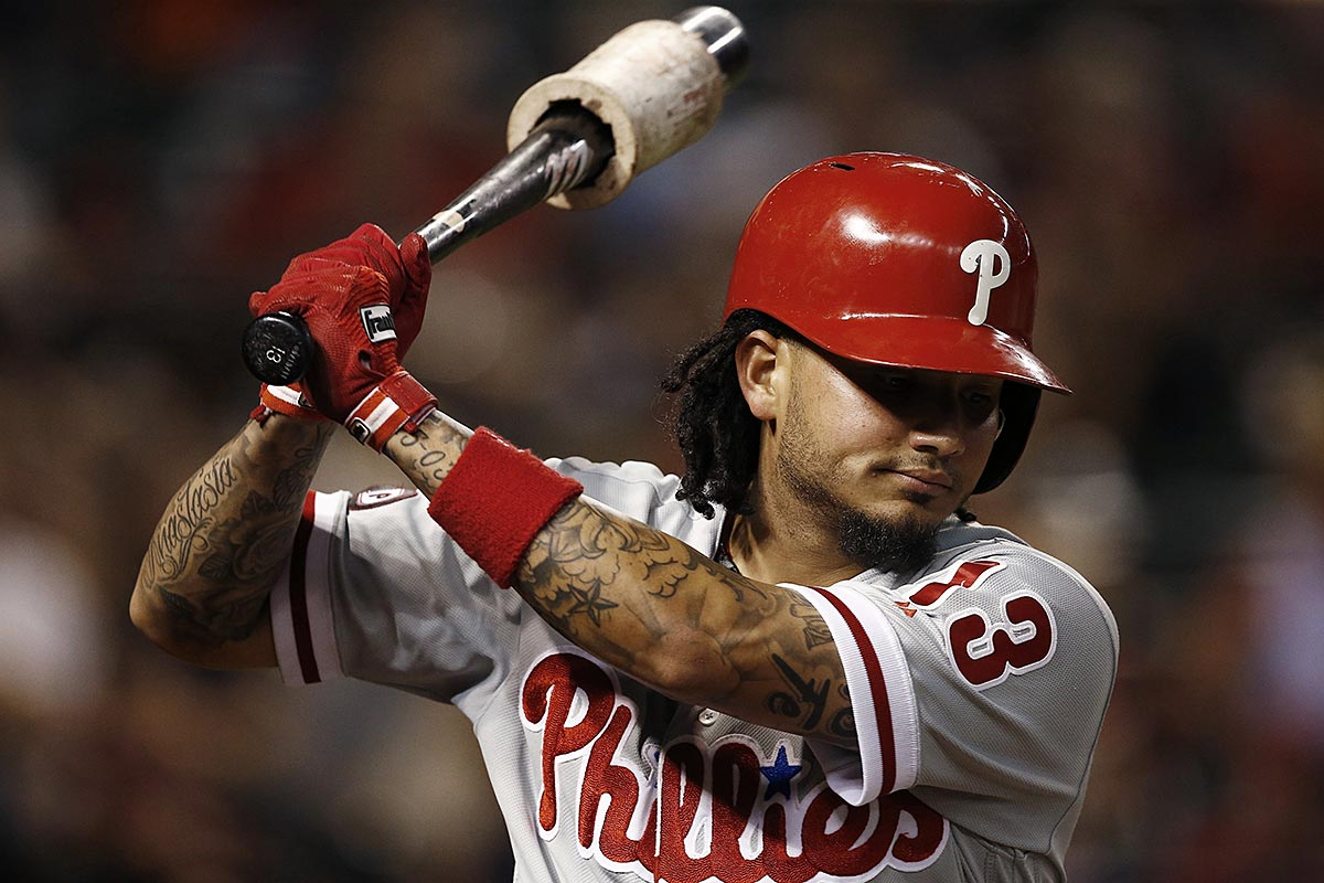 Philadelphia Phillies´ Freddy Galvis takes a practice swing before batting against the Arizona Diamondbacks during the fifth inning of a baseball game Friday, June 23, 2017, in Phoenix. The Phillies defeated the Diamondbacks 6-1.