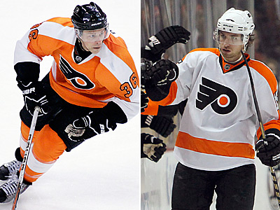 The Flyers have traded Darroll Powe (left) to Minnesota and re-signed Andreas Nodl. (AP Photos)