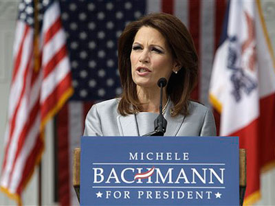 Rep. Michele Bachmann, R-Minn., speaks to supporters during her formal announcement to seek the 2012 Republican presidential nomination, Monday, June 27, 2011, in Waterloo, Iowa.  Bachmann, who was born in Waterloo, will continue her announcement tour this week with stops in New Hampshire and South Carolina. (AP Photo / Charlie Neibergall)