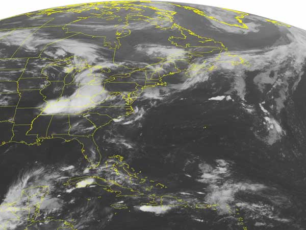 This NOAA satellite image taken Thursday, June 27, 2013 at 1:45 a.m. EDT shows a stationary front across northern New England with scattered showers and thunderstorms. A surface trough extends from southern New England to northern North Carolina. Showers are associated with this feature. (AP PHOTO/WEATHER UNDERGROUND)