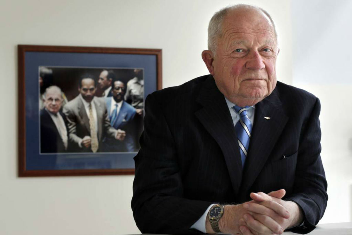 Famed defense attorney F. Lee Bailey in his office in Yarmouth, Maine, in 2014. Bailey has filed for bankruptcy again to tie up loose ends following his bankruptcy filing in 2016. His bankruptcy attorney said Tuesday, June 27, 2017, the new filing aims to resolve liens on his Maine home, personal property, pensions and book royalties, and to set up a payment plan.