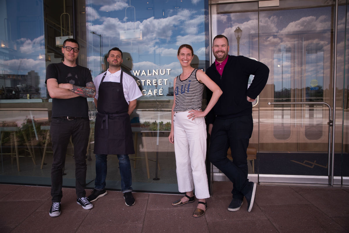 Operator Patrick Cappiello, chef Daniel Eddy, pastry chef Melissa Weller, and operator Branden McRill at the new Walnut Street Cafe.