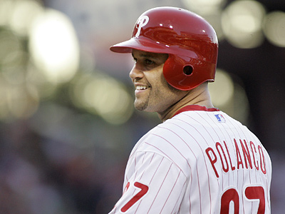 Placido Polanco received a second cortisone shot on his elbow Sunday. (AP Photo/Tom Mihalek)