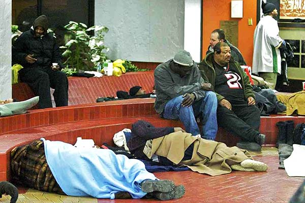 File photo: Some of New Jersey´s homeless taking shelter in the lobby of the Camden County administration building in 2011.