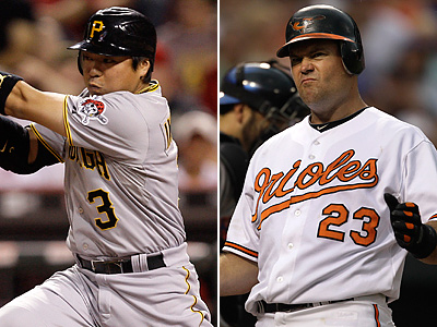Aki Iwamura of the Pirates or Ty Wigginton of the Orioles could be possible trade targets of the Phillies. (AP Photos)