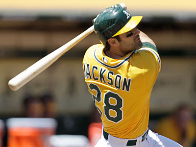 A´s Conor Jackson is hitting .261 with one home run and 20 RBI this season. (Ben Margot/AP Photo)