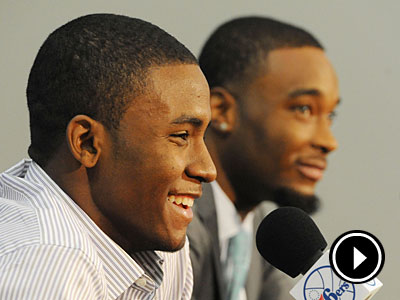First round picks Maurice Harkless and Arnett Moultrie answer questions during Friday´s press conference. (Clem Murray/Staff Photographer)
