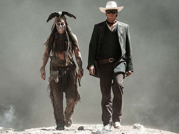 "Johnny Depp (left) as Tonto and Armie Hammer as ""The Lone Ranger."" The crew spent nine months in five Western states, and Hammer and his costars went through three weeks of riding ""boot camp."""