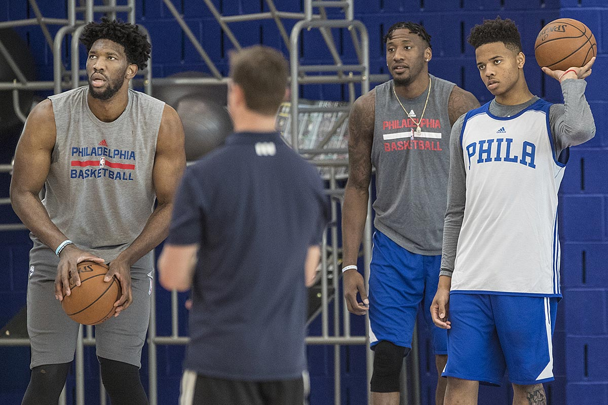 Joel Embiid (left) Robert Covington (center) and Markelle Fultz during Sixers camp.