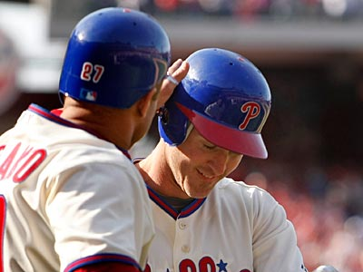 Placido Polanco and Chase Utley received inconclusive results on their injuries and will seek second opinions. (Ron Cortes / Staff Photographer)