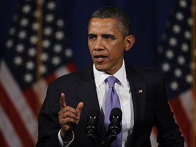 President Barack Obama makes remarks during a fundraiser Thursday in Philadelphia. (AP Photo / Matt Rourke)
