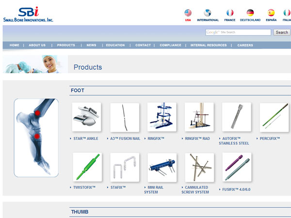 A screen grab from Small Bone Innovations´ web site, totalsmallbone.com, showing the company´s products.