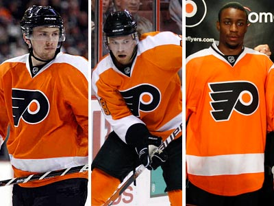 Wayne Simmonds (right) could join a line with young talent in James van Riemsdyk  (left) and Claude Giroux. (AP Photos)