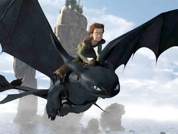 "A scene from the 3-D movie ""How to Train Your Dragon."" DreamWorks Animation began holding screenings of the film for academy members in March."