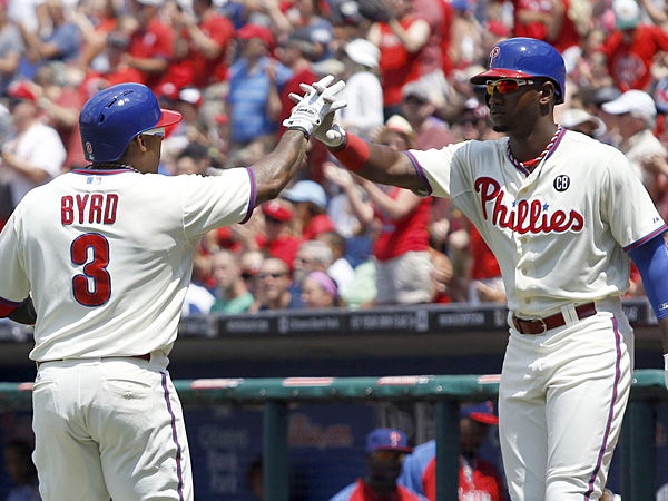 Marlon Byrd (left) and Domonic Brown (right). (Yong Kim/Staff Photographer)
