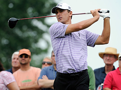 Charles Howell III tees off on the third hole during the final round of the AT&T National at Aronimink. (AP Photo/Barbara Johnston)