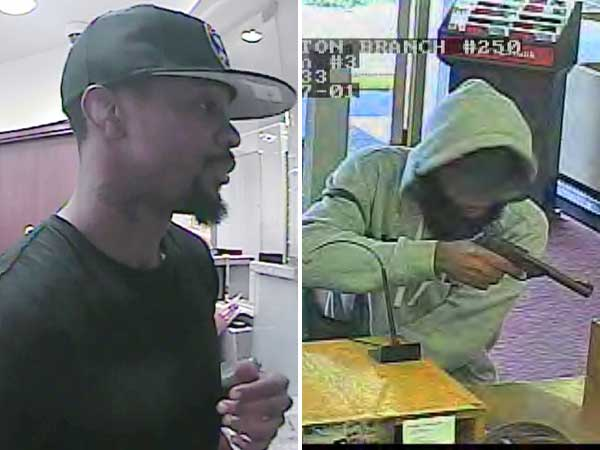 Carl Goodwin, a suspect in four Philadelphia bank robberies (left), and an unidentified man wanted in a Camden County bank heist.