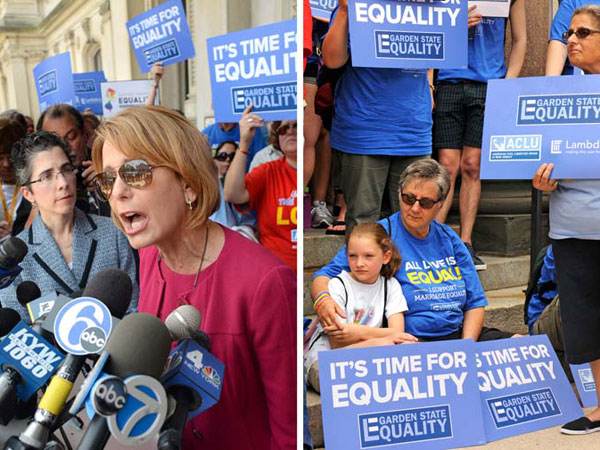 Democratic gubernatorial candidate Barbara Buono, mother of a gay daughter who wrote an emotional letter to supporters just last week excoriating Gov Christie´s opposition to gay marriage, speaks at a New Jersey Statehouse rally on June 27. ( TOM GRALISH / Staff Photographer )