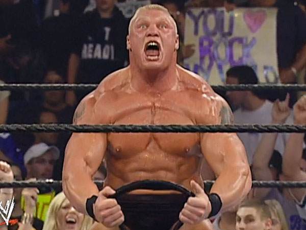 Brock Lesnar after winning the WWE Undisputed Championship. (Photo courtesy of the WWE Network)