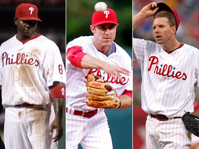 Ryan Howard, left, Chase Utley and Roy Halladay were named to the NL All-Star team. (Staff Photos)