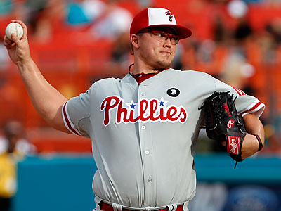 Vance Worley allowed only two hits in seven shutout innings against the Marlins. (Wilfredo Lee/AP)