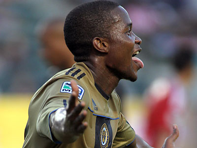 Danny Mwanga scored a goal and had another disallowed in the Union´s 1-1 draw at Chivas USA on Saturday. (Tracy Boulian/AP)