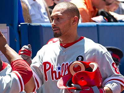 Shane Victorino left the team Tuesday to fly back to Philadelphia. (AP Photo/The Canadian Press, Darren Calabrese)