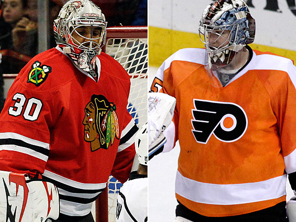 Ray Emery and Steve Mason (AP Photos)