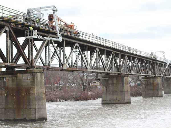 Inspectors check SEPTA´s Bridgeport Viaduct, which will be closed starting July 8 until November for repair work.  (SEPTA Photo)