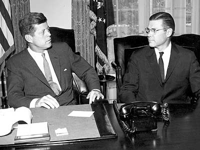 Robert McNamara (right), who served as Defense Secretary under presidents Keenndy and Johnson, passed away today at age 93. (Cecil Stoughton/John F. Kennedy Presidential Library/AP)