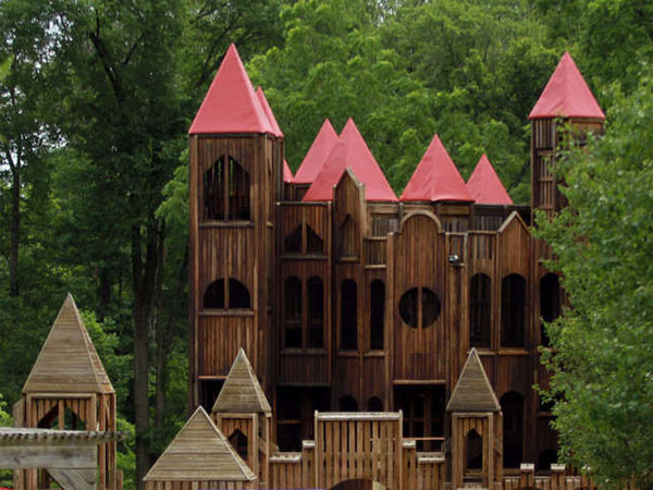 The Kids Castle in Doylestown - an eight-story wooden playground with distinctive spires towering overhead - is undergoing renovations, the first of what a local group of volunteers hopes is three phases to revamp the landmark. (David Swanson / Staff Photographer)