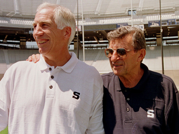 In this Aug. 6, 1999 file photo, Penn State head football coach Joe Paterno, right, poses with his defensive coordinator Jerry Sandusky during Penn State Media Day at State College, Pa. ( AP Photo/Paul Vathis, File )