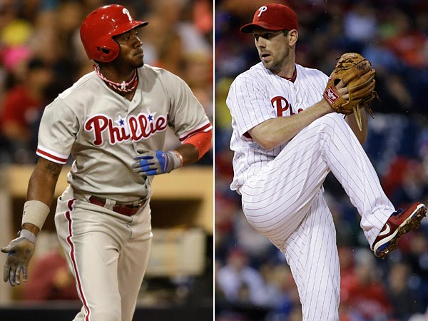 Philadelphia Phillies outfielder Domonic Brown and pitcher Cliff Lee.(AP Photo/Matt Slocum, Gregory Bull)
