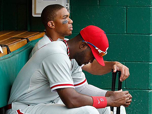 Phillies center fielder Ben Revere and left fielder Domonic Brown. (Gene J. Puskar/AP)